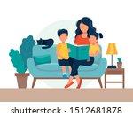 mom reading for kids. family... | Shutterstock .eps vector #1512681878