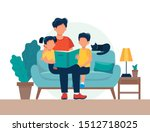 dad reading for kids. family... | Shutterstock .eps vector #1512718025