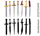 edged weapon  sword  saber set ... | Shutterstock .eps vector #1512721445
