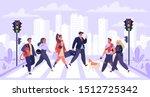 pedestrians   artoon flat... | Shutterstock .eps vector #1512725342