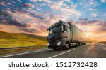 truck with container on highway ... | Shutterstock . vector #1512732428