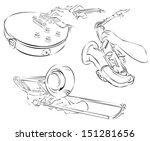 trombone  guitar  saxophone ... | Shutterstock .eps vector #151281656