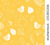 autumn seamless pattern. cute... | Shutterstock . vector #151301336