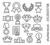 awards line icons set on white... | Shutterstock . vector #1513025738
