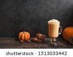 Pumpkin Spice Latte On Black...