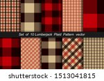 set of 10 lumberjack plaid... | Shutterstock .eps vector #1513041815