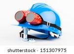 blue helmet and red welder... | Shutterstock . vector #151307975