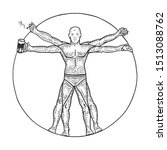 party club vitruvian man with... | Shutterstock .eps vector #1513088762