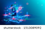 isometric virtual abstract... | Shutterstock .eps vector #1513089092