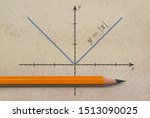 Small photo of Pencil and a graph of absolute value function on grunge background
