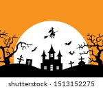 halloween vector female witch... | Shutterstock .eps vector #1513152275