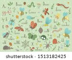 Woodland alphabet for children. Cute flat ABC with forest insects on green background. Horizontal layout funny poster for teaching reading on white background.