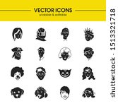 faces icons set with clown  boy ...