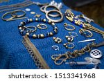 Vintage Jewelry On A Blue Canvas