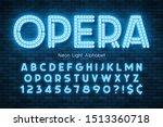 neon light 3d alphabet  led... | Shutterstock .eps vector #1513360718