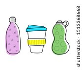 reusable bottles and keep cup... | Shutterstock .eps vector #1513368668
