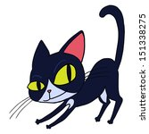 cartoon black cat isolated... | Shutterstock .eps vector #151338275