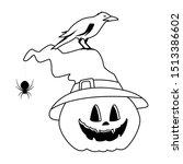 halloween pumpkin with witch...   Shutterstock .eps vector #1513386602
