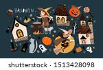 happy halloween  set of objects ... | Shutterstock .eps vector #1513428098