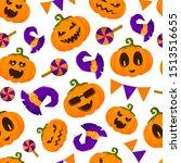halloween seamless pattern with ...   Shutterstock .eps vector #1513516655