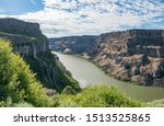 Snake Canyon River Gorge as seen from Snake River Rim Trail on sunny summer day near Shoshone Falls Park, Twil Falls, Idaho, USA
