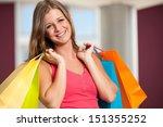 girl cariing vibrant shopping