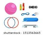 fitness equipment flat vector... | Shutterstock .eps vector #1513563665