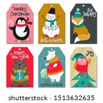 vector set of six christmas... | Shutterstock .eps vector #1513632635
