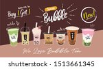 bubble tea cup design... | Shutterstock .eps vector #1513661345