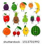 fruits for kids. cute fruit... | Shutterstock . vector #1513701992