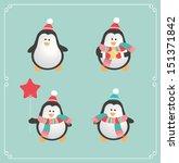 set of cute penguins. vector... | Shutterstock .eps vector #151371842