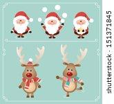 Set Of Cute Santa Claus And...