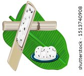 sticky rice in bamboo tubes ... | Shutterstock .eps vector #1513740908