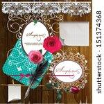 scrap template of vintage worn...   Shutterstock .eps vector #151374368