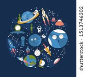 cartoon space banner with... | Shutterstock .eps vector #1513746302