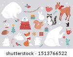 winter forest animals  merry... | Shutterstock .eps vector #1513766522