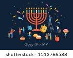 happy hanukkah  jewish festival ... | Shutterstock .eps vector #1513766588