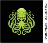 Green Octopus Kraken Monster...