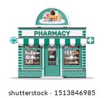 facade pharmacy store with... | Shutterstock .eps vector #1513846985