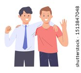 two men are close friends and... | Shutterstock .eps vector #1513847048