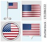 usa flag   set of various... | Shutterstock . vector #151386122