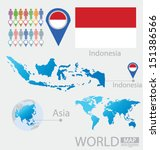 Indonesia. flag. Asia. World Map. vector Illustration.