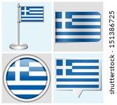 greece flag   set of various... | Shutterstock . vector #151386725