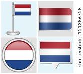 netherlands flag   set of... | Shutterstock . vector #151386758