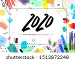 2020 merry christmas and happy... | Shutterstock .eps vector #1513872248