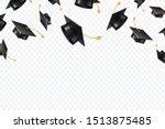 Graduate Caps Flying. Black...