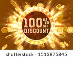 golden frame 100 sale off text... | Shutterstock .eps vector #1513875845