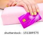 woman hand holding credit card... | Shutterstock . vector #151389575