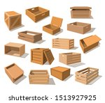 set of isolated wooden packages ... | Shutterstock .eps vector #1513927925