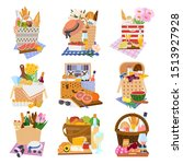 set of isolated gift or picnic  ... | Shutterstock .eps vector #1513927928
